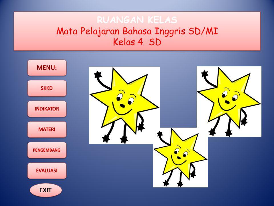 RUANGAN KELAS Mata Pelajaran Bahasa Inggris SD/MI Kelas 4 SD EXIT