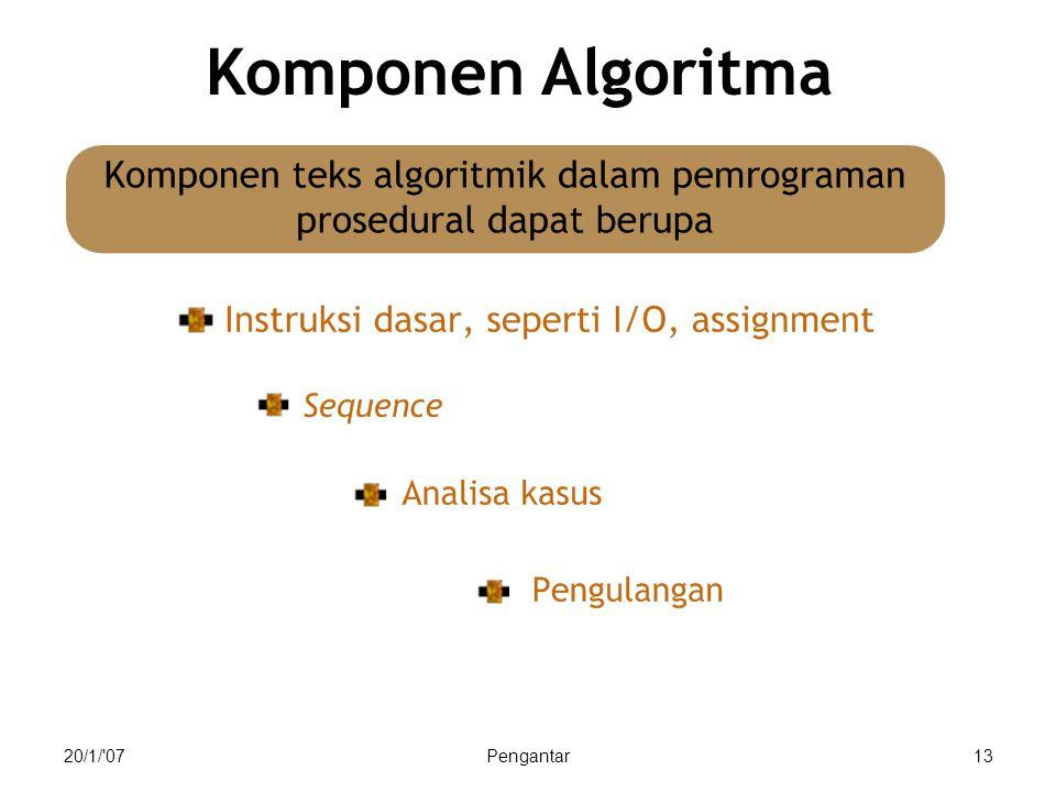 20/1/'07Pengantar13 Komponen Algoritma