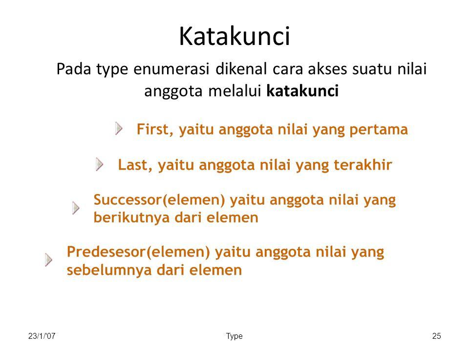 23/1/'07Type25 Katakunci Pada type enumerasi dikenal cara akses suatu nilai anggota melalui katakunci