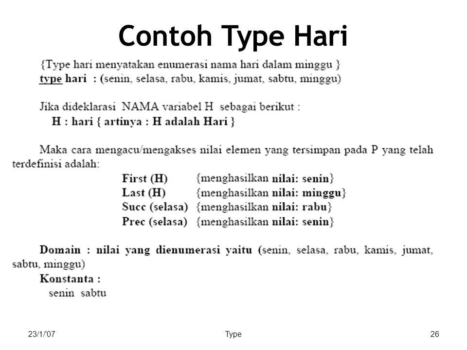 23/1/'07Type26 Contoh Type Hari