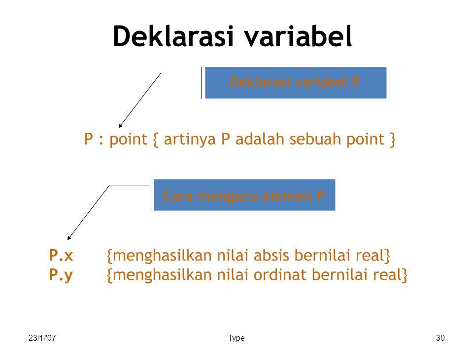 23/1/'07Type30 Deklarasi variabel