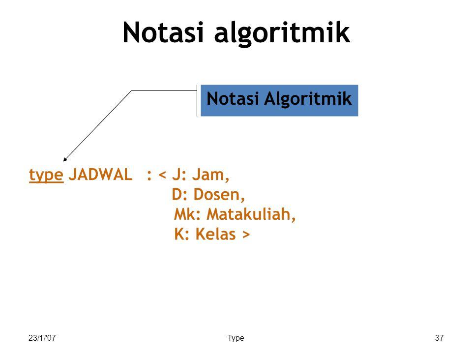 23/1/'07Type37 Notasi algoritmik Notasi Algoritmik