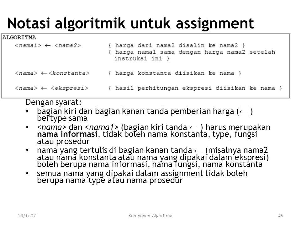 29/1/'07Komponen Algoritma45 Notasi algoritmik untuk assignment Dengan syarat: bagian kiri dan bagian kanan tanda pemberian harga ( ← ) bertype sama d