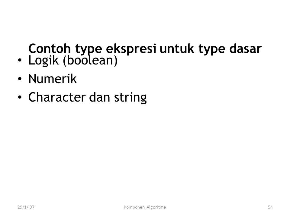 29/1/'07Komponen Algoritma54 Contoh type ekspresi untuk type dasar Logik (boolean) Numerik Character dan string