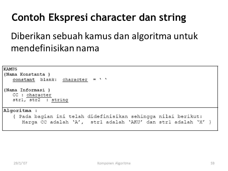 29/1/'07Komponen Algoritma59 Contoh Ekspresi character dan string Diberikan sebuah kamus dan algoritma untuk mendefinisikan nama