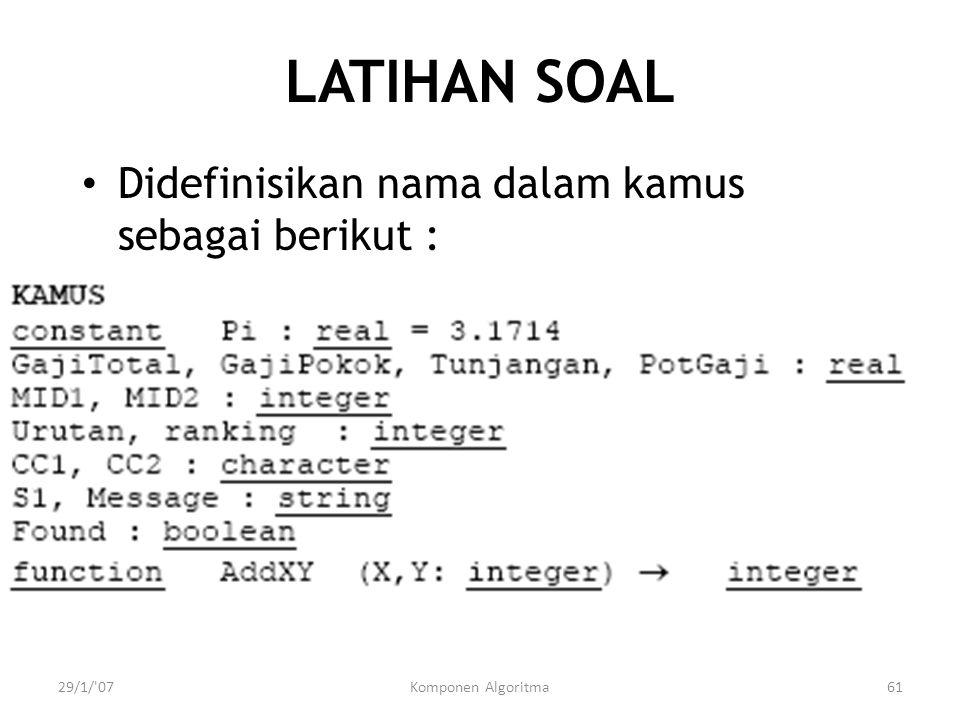 29/1/'07Komponen Algoritma61 LATIHAN SOAL Didefinisikan nama dalam kamus sebagai berikut :