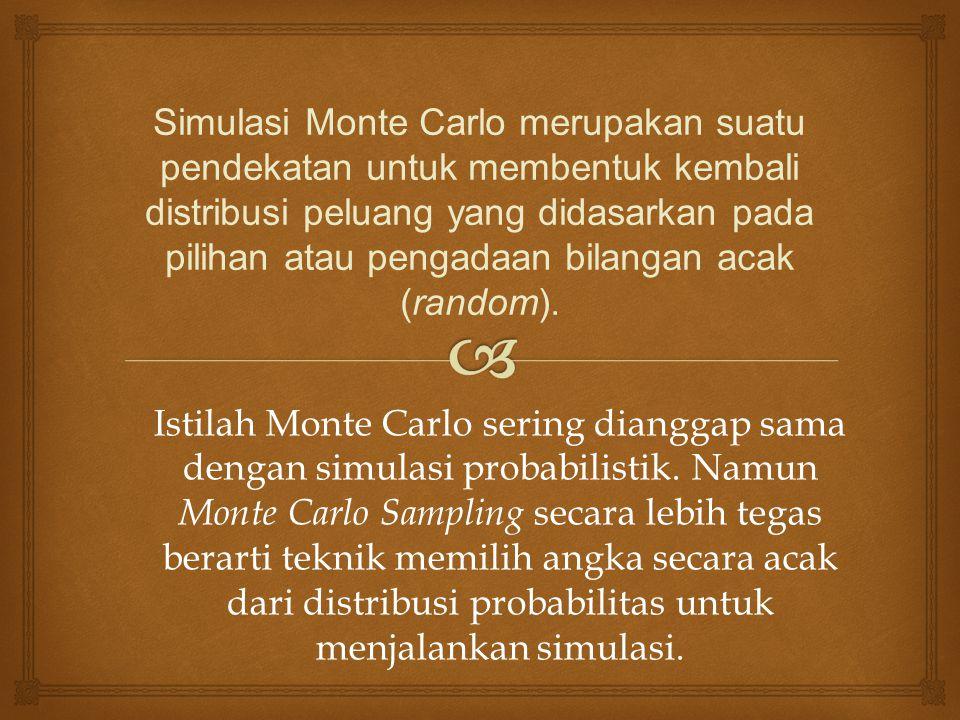 Simulasi Monte Carlo merupakan suatu pendekatan untuk membentuk kembali distribusi peluang yang didasarkan pada pilihan atau pengadaan bilangan acak (random).