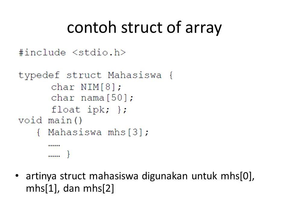 contoh struct of array artinya struct mahasiswa digunakan untuk mhs[0], mhs[1], dan mhs[2]