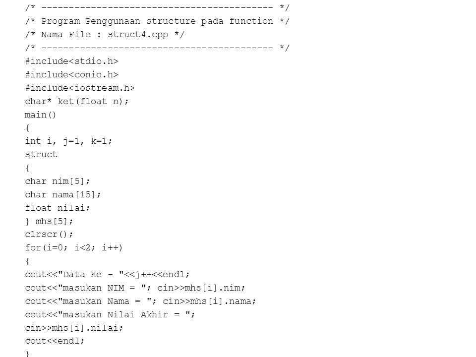 /* ------------------------------------------ */ /* Program Penggunaan structure pada function */ /* Nama File : struct4.cpp */ /* -------------------