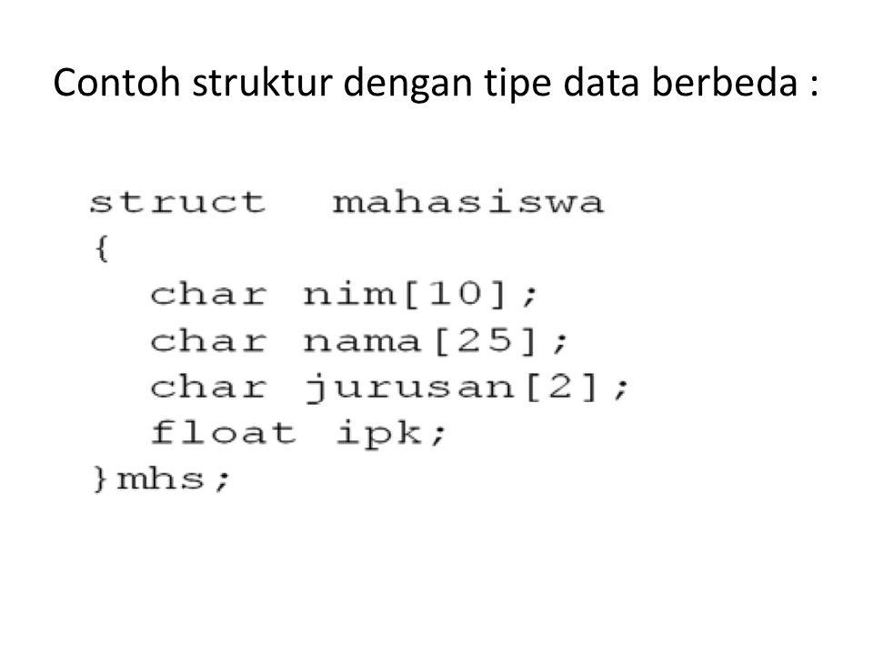 Contoh : Union nilaiujian { int uts,uas; float nilai_akhir; }