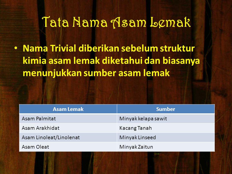 Tata Nama Asam Lemak Nama Trivial diberikan sebelum struktur kimia asam lemak diketahui dan biasanya menunjukkan sumber asam lemak Asam LemakSumber As