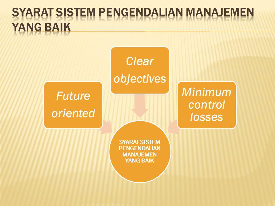 SYARAT SISTEM PENGENDALIAN MANAJEMEN YANG BAIK Future oriented Clear objectives Minimum control losses