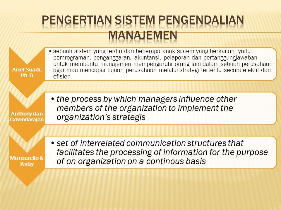 Arief Suadi, Ph.D sebuah sistem yang terdiri dari beberapa anak sistem yang berkaitan, yaitu: pemrograman, penganggaran, akuntansi, pelaporan dan pert