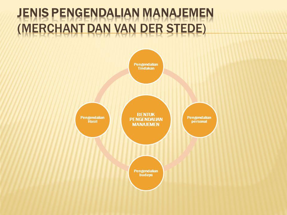 BENTUK PENGENDALIAN MANAJEMEN Pengendalian Tindakan Pengendalian personal Pengendalian budaya Pengendalian Hasil
