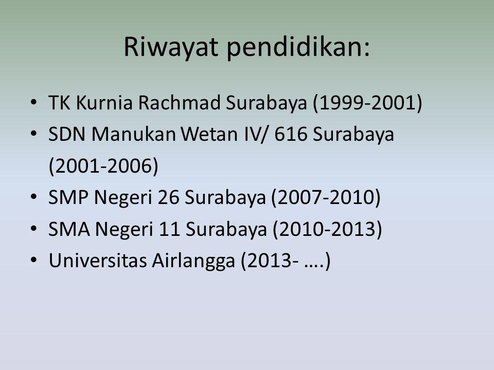 Riwayat pendidikan: TK Kurnia Rachmad Surabaya (1999-2001) SDN Manukan Wetan IV/ 616 Surabaya (2001-2006) SMP Negeri 26 Surabaya (2007-2010) SMA Neger