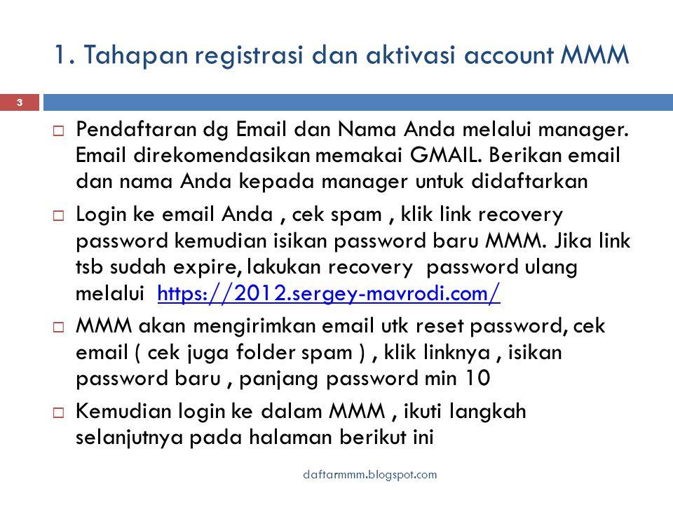 1. Tahapan registrasi dan aktivasi account MMM daftarmmm.blogspot.com 3  Pendaftaran dg Email dan Nama Anda melalui manager. Email direkomendasikan m