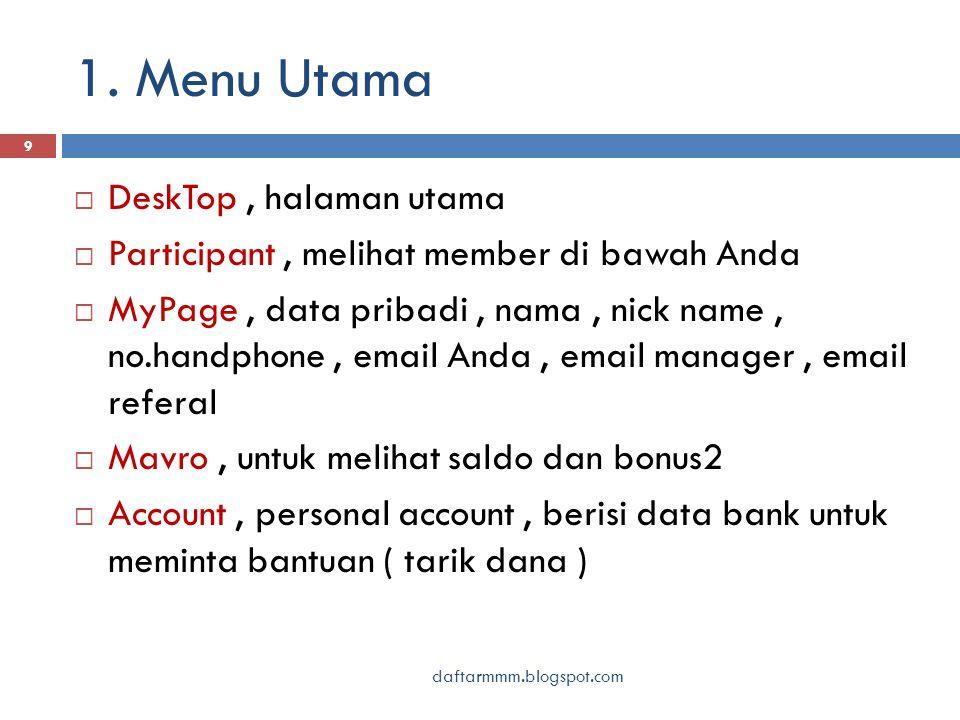 1. Menu Utama daftarmmm.blogspot.com 9  DeskTop, halaman utama  Participant, melihat member di bawah Anda  MyPage, data pribadi, nama, nick name, n