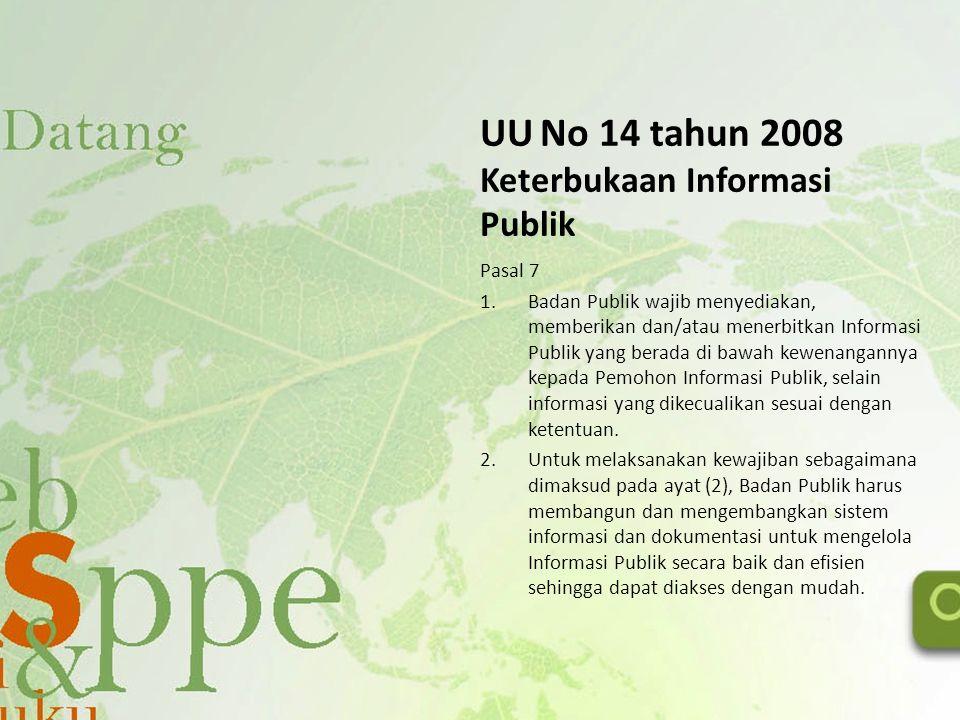 UU No 14 tahun 2008 Keterbukaan Informasi Publik Pasal 7 1.Badan Publik wajib menyediakan, memberikan dan/atau menerbitkan Informasi Publik yang berad