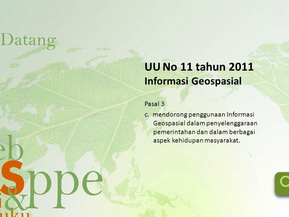 UU No 11 tahun 2011 Informasi Geospasial Pasal 3 c. mendorong penggunaan Informasi Geospasial dalam penyelenggaraan pemerintahan dan dalam berbagai as