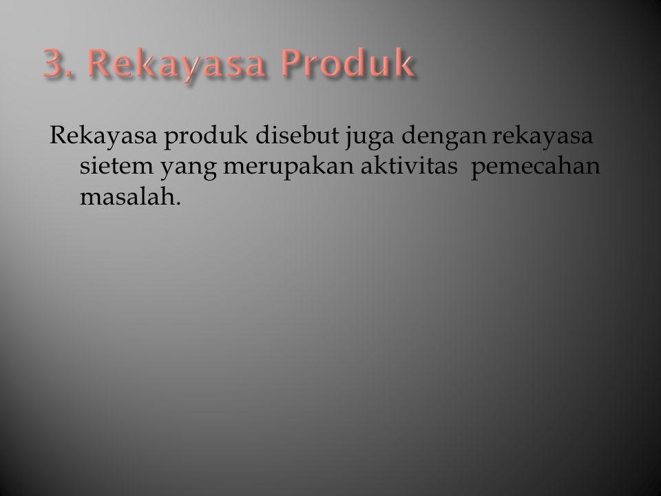 Rekayasa produk disebut juga dengan rekayasa sietem yang merupakan aktivitas pemecahan masalah.