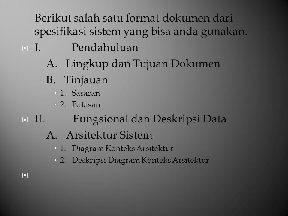 Berikut salah satu format dokumen dari spesifikasi sistem yang bisa anda gunakan.