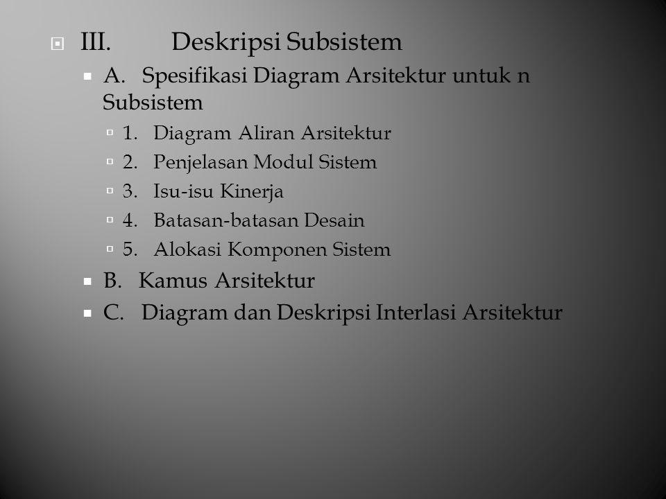  III. Deskripsi Subsistem  A. Spesifikasi Diagram Arsitektur untuk n Subsistem  1. Diagram Aliran Arsitektur  2. Penjelasan Modul Sistem  3. Isu-