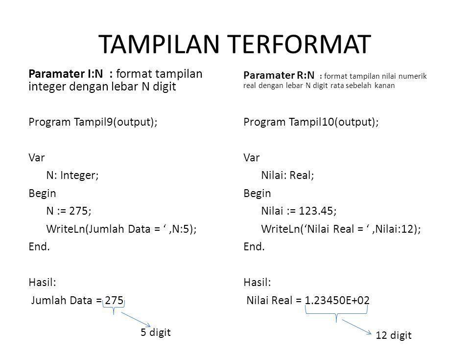 TAMPILAN TERFORMAT Paramater I:N : format tampilan integer dengan lebar N digit Program Tampil9(output); Var N: Integer; Begin N := 275; WriteLn(Jumlah Data = ',N:5); End.