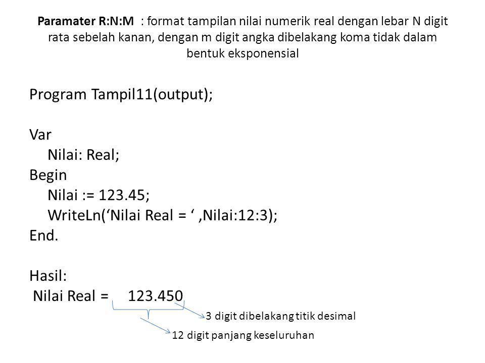 Paramater R:N:M : format tampilan nilai numerik real dengan lebar N digit rata sebelah kanan, dengan m digit angka dibelakang koma tidak dalam bentuk eksponensial Program Tampil11(output); Var Nilai: Real; Begin Nilai := 123.45; WriteLn('Nilai Real = ',Nilai:12:3); End.