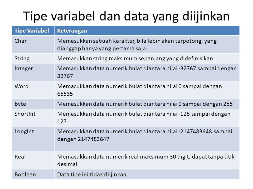 Contoh : Program Masuk1(Layar); Var A, B : integer; C : Real; D : string[10]; E : char; Begin (* memasukkan data untuk masing-masing variabel *) ReadLn(A); ReadLn(B); ReadLn(C); ReadLn(D); ReadLn(E); (* menampilkan data yang dimasukkan *) WriteLn; WriteLn('A = ',A, 'B = ',B 'C = ',C); WriteLn('D = ',D); WriteLn('E = ',E); End.