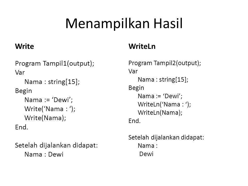 Menampilkan Hasil Write Program Tampil1(output); Var Nama : string[15]; Begin Nama := 'Dewi'; Write('Nama : '); Write(Nama); End.
