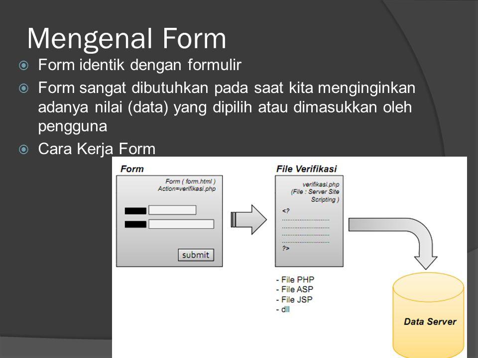 Mengenal Form  Form identik dengan formulir  Form sangat dibutuhkan pada saat kita menginginkan adanya nilai (data) yang dipilih atau dimasukkan oleh pengguna  Cara Kerja Form