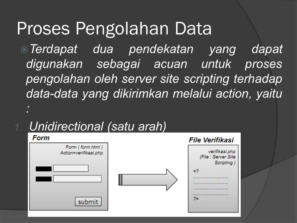 Proses Pengolahan Data  Terdapat dua pendekatan yang dapat digunakan sebagai acuan untuk proses pengolahan oleh server site scripting terhadap data-data yang dikirimkan melalui action, yaitu : 1.
