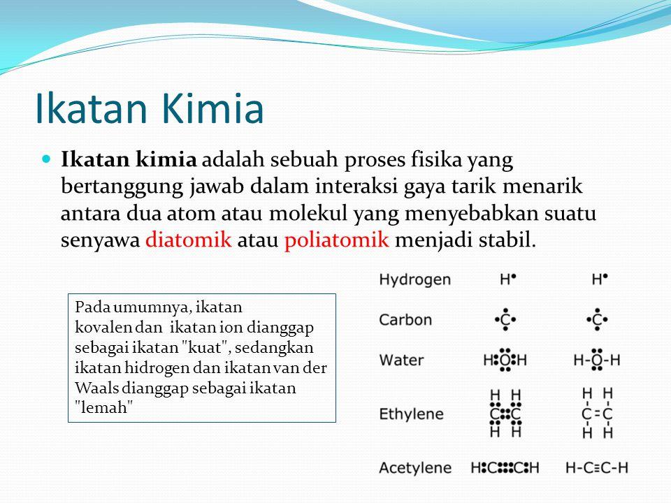 Ikatan Kimia Ikatan kimia adalah sebuah proses fisika yang bertanggung jawab dalam interaksi gaya tarik menarik antara dua atom atau molekul yang meny