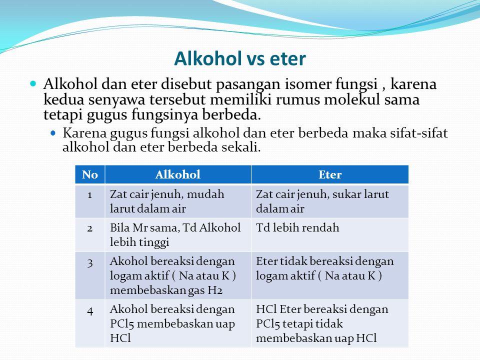 Alkohol vs eter Alkohol dan eter disebut pasangan isomer fungsi, karena kedua senyawa tersebut memiliki rumus molekul sama tetapi gugus fungsinya berb
