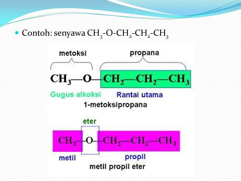 Contoh: senyawa CH 3 -O-CH 2 -CH 2 -CH 3