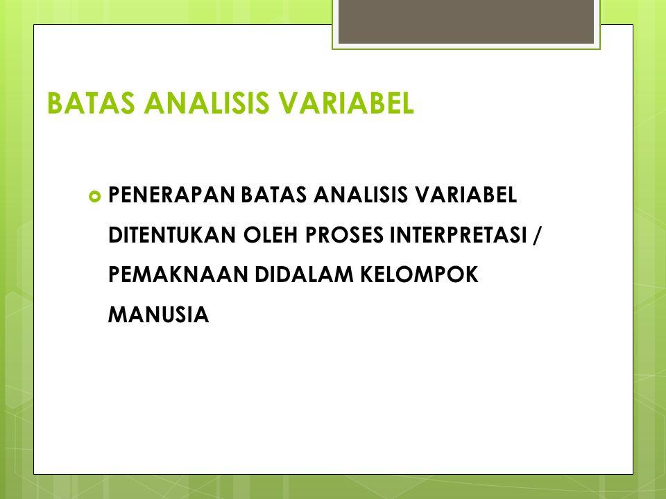 BATAS ANALISIS VARIABEL  PENERAPAN BATAS ANALISIS VARIABEL DITENTUKAN OLEH PROSES INTERPRETASI / PEMAKNAAN DIDALAM KELOMPOK MANUSIA