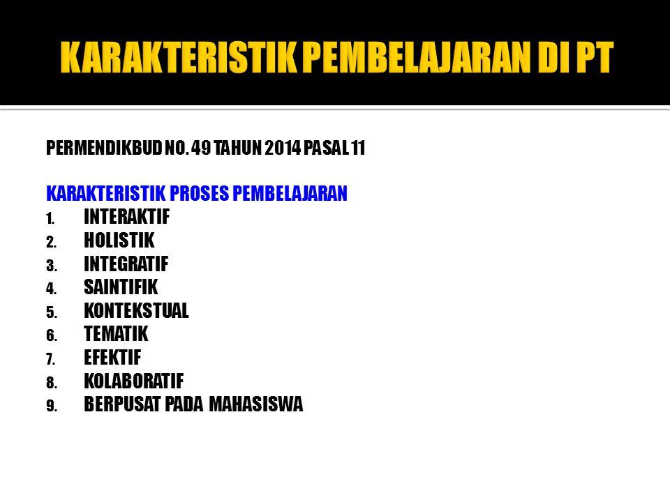 PERMENDIKBUD NO. 49 TAHUN 2014 PASAL 11 KARAKTERISTIK PROSES PEMBELAJARAN 1. INTERAKTIF 2. HOLISTIK 3. INTEGRATIF 4. SAINTIFIK 5. KONTEKSTUAL 6. TEMAT