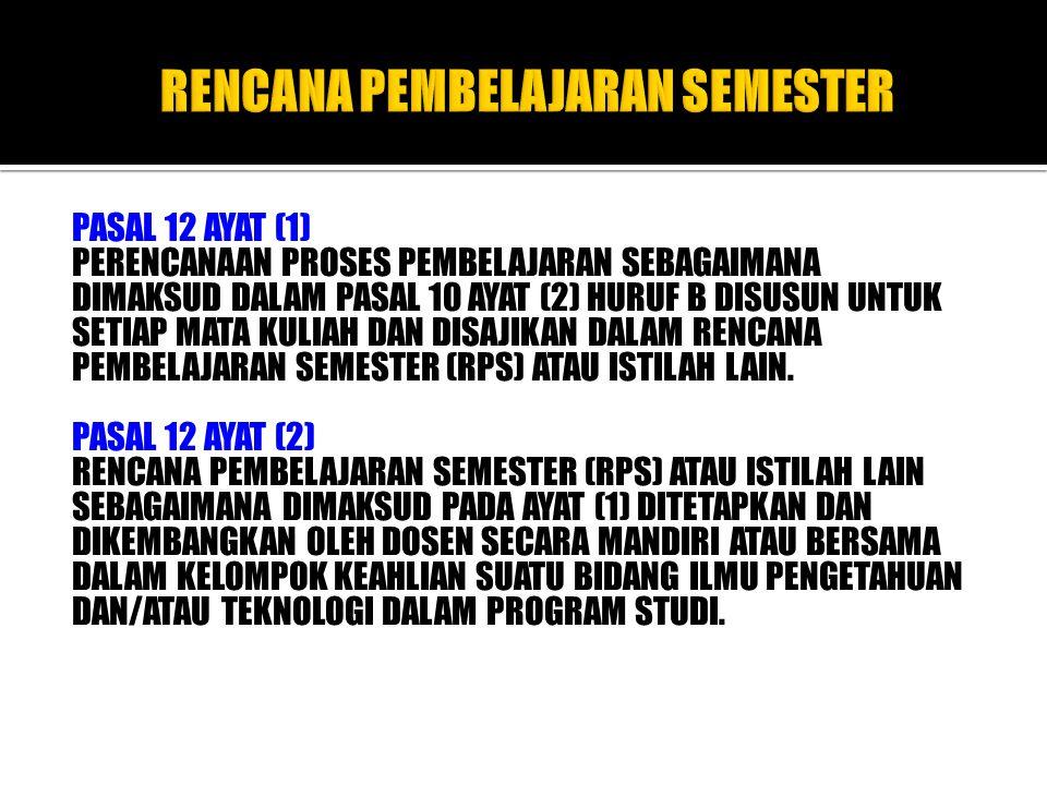PASAL 12 AYAT (3) Rencana pembelajaran semester (RPS) atau istilah lain paling sedikit memuat: a.