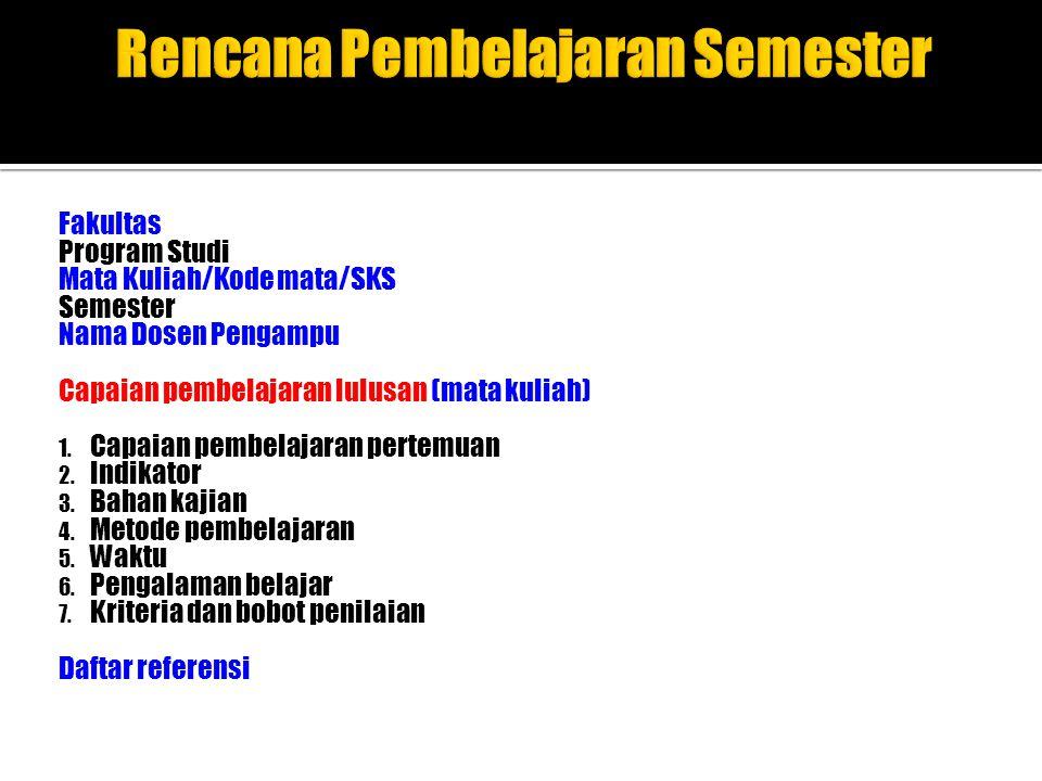 Fakultas Program Studi Mata Kuliah/Kode mata/SKS Semester Nama Dosen Pengampu Capaian pembelajaran lulusan (mata kuliah) 1. Capaian pembelajaran perte