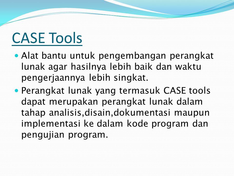 CASE Tools Alat bantu untuk pengembangan perangkat lunak agar hasilnya lebih baik dan waktu pengerjaannya lebih singkat.
