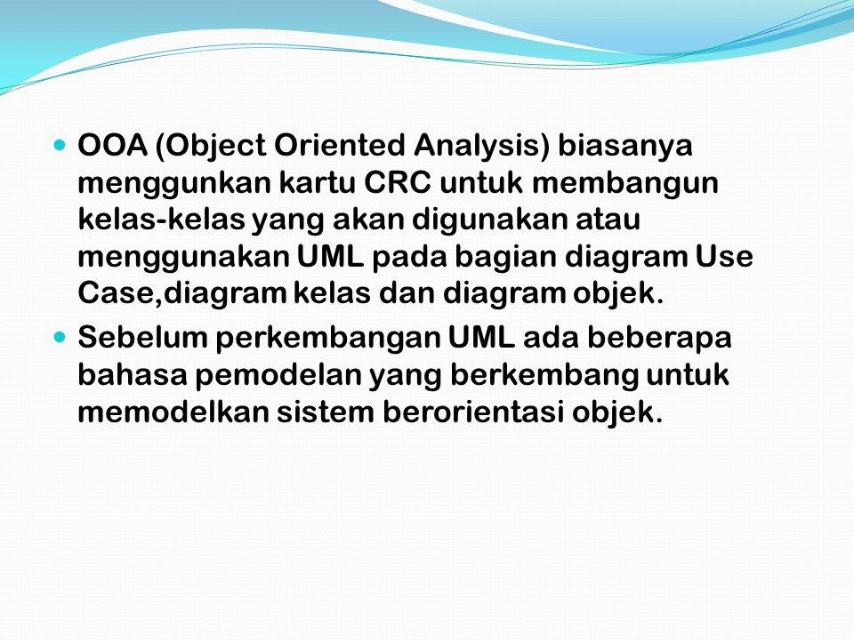 Analisis Berientasi Objek Tahapan untuk menganalisis spesifikasi atau kebutuhan akan sistem yang akan dibangun dengan konsep berorientasi objek,apakah