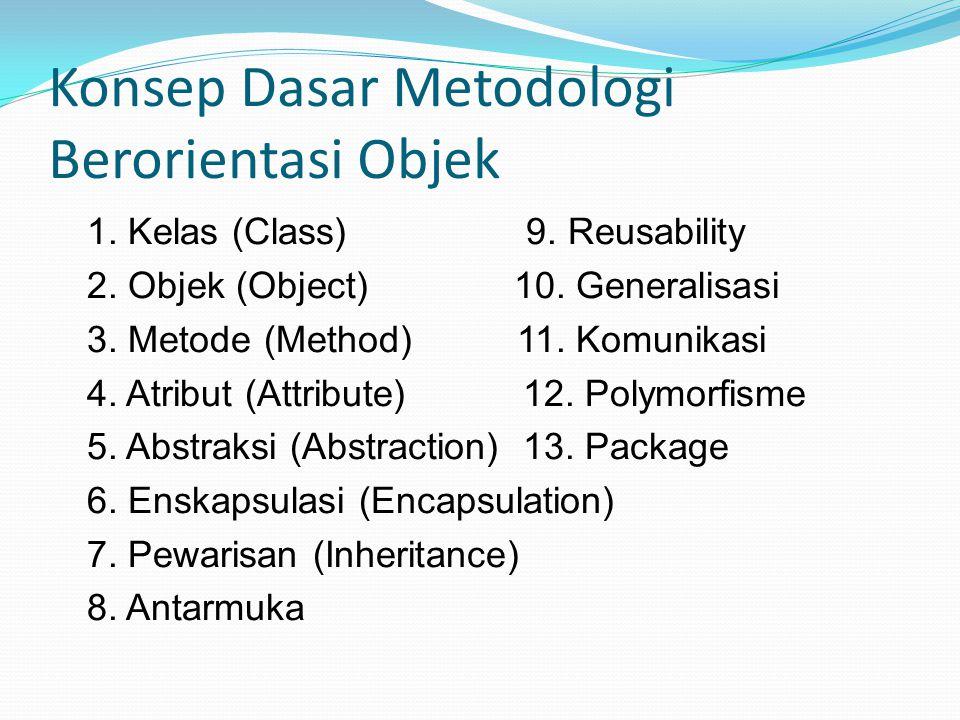 Konsep Dasar Metodologi Berorientasi Objek 1.Kelas (Class) 9.
