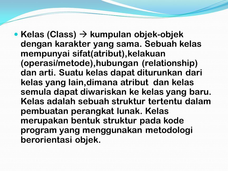 Kelas (Class)  kumpulan objek-objek dengan karakter yang sama.