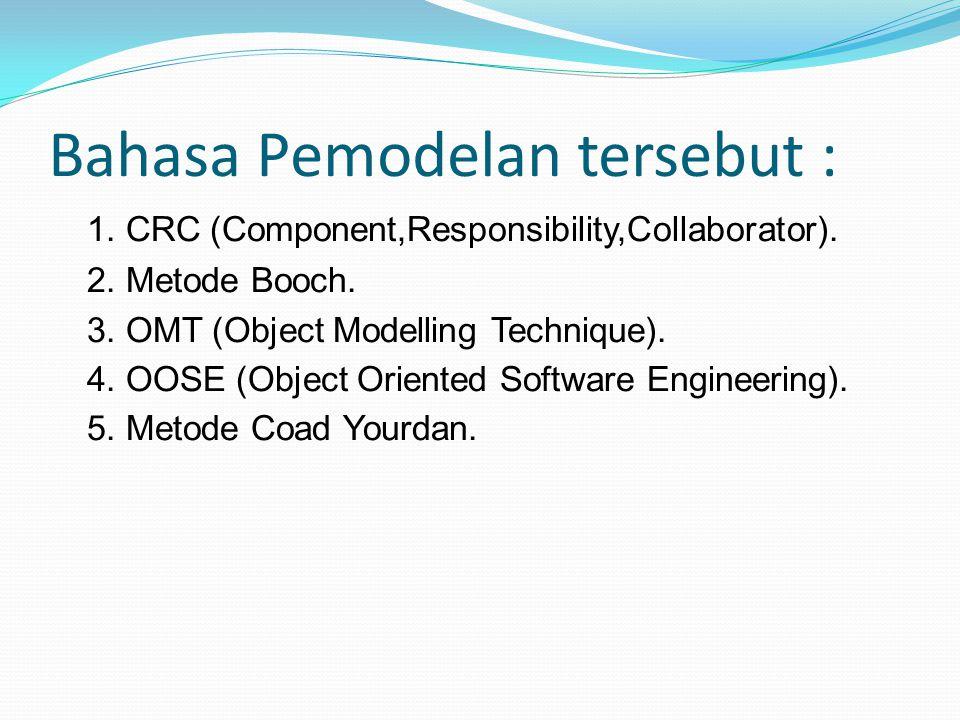 Bahasa Pemodelan tersebut : 1.CRC (Component,Responsibility,Collaborator).