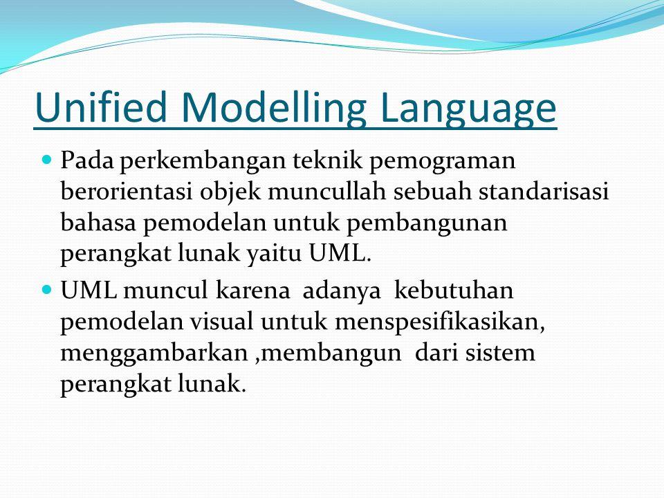 Unified Modelling Language Pada perkembangan teknik pemograman berorientasi objek muncullah sebuah standarisasi bahasa pemodelan untuk pembangunan perangkat lunak yaitu UML.