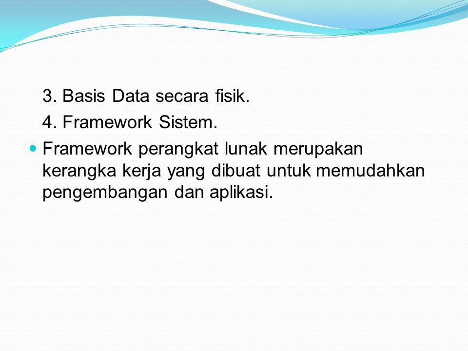 3.Basis Data secara fisik. 4. Framework Sistem.