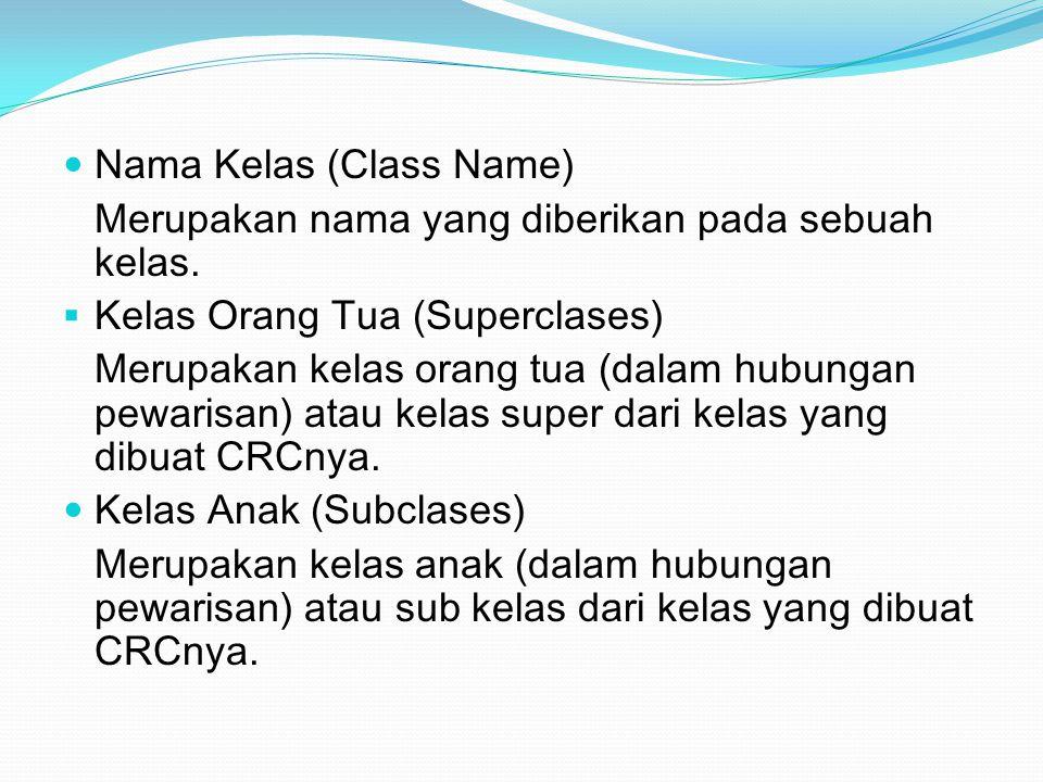 Nama Kelas (Class Name) Merupakan nama yang diberikan pada sebuah kelas.