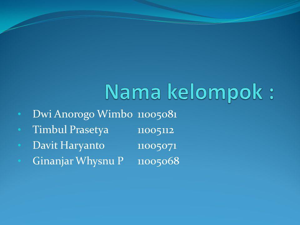 Dwi Anorogo Wimbo 11005081 Timbul Prasetya11005112 Davit Haryanto11005071 Ginanjar Whysnu P11005068