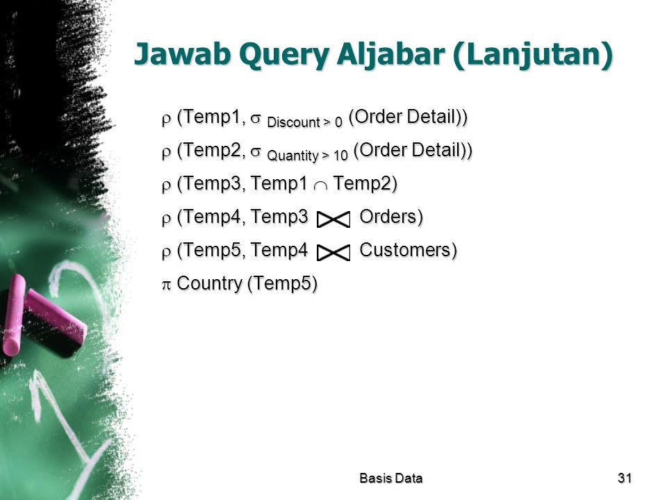 Jawab Query Aljabar (Lanjutan)  (Temp1,  Discount > 0 (Order Detail))  (Temp2,  Quantity > 10 (Order Detail))  (Temp3, Temp1  Temp2)  (Temp4, T