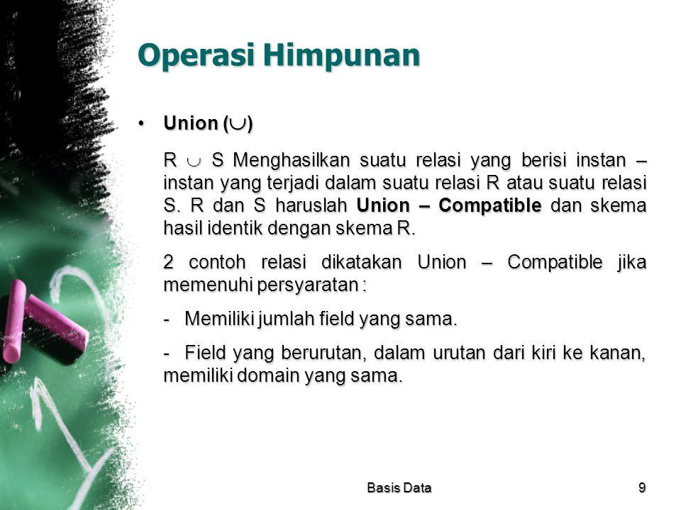 Operasi Himpunan Union (  )Union (  ) R  S Menghasilkan suatu relasi yang berisi instan – instan yang terjadi dalam suatu relasi R atau suatu relas